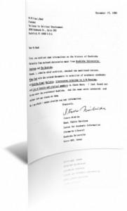 מכתב מאוניברסיטת דושישה